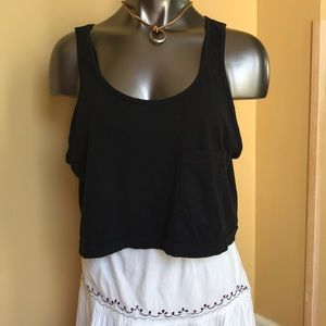 American Apparel Black Crop Tank Top One Size